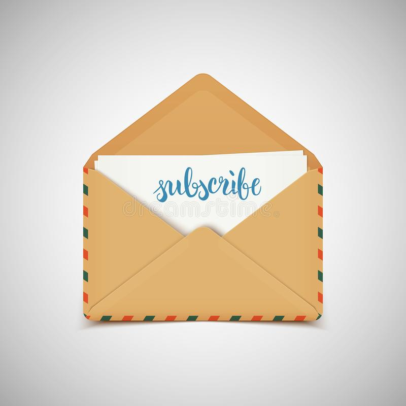 Subscribe letter in vintage envelope, brush pen lettering calligraphy for social media, vector illustration vector illustration