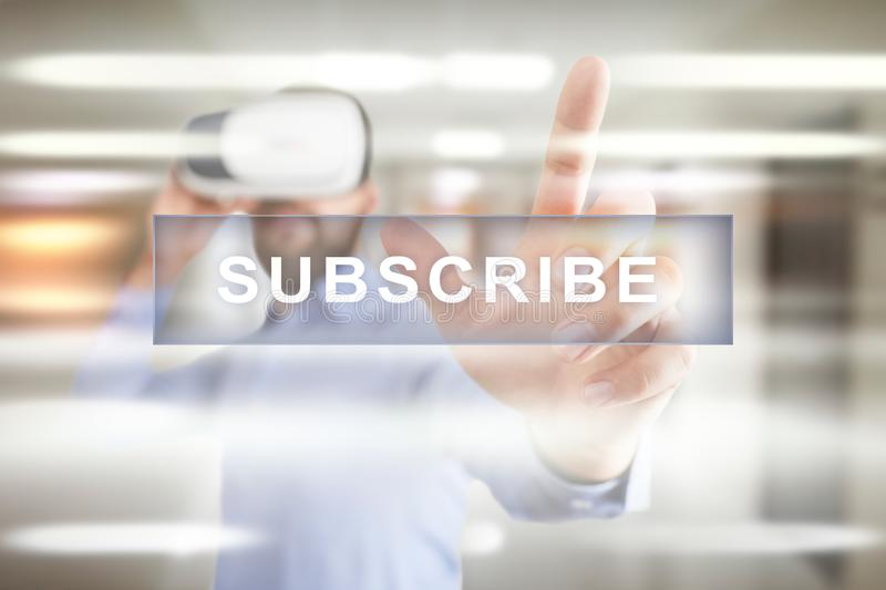 Subscribe now, subscription, newsletter button on virtual screen. stock photos