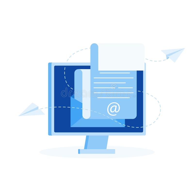 Subscribe to newsletter concept. Open message with the document. Paper airplanes icon. Modern flat style vector illustration royalty free illustration