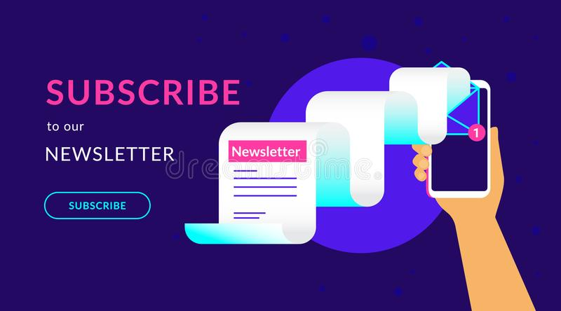 Subscribe to our weekly newsletter flat vector neon illustration for ui ux web design vector illustration