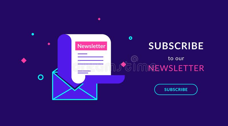 Subscribe to our weekly newsletter flat vector neon illustration vector illustration