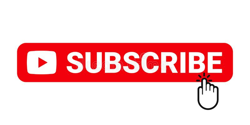Subscribe web site button. Online video channel or newsletter subscribe button with finger pointer, vector web element. Subscribe web site button. Online video stock illustration