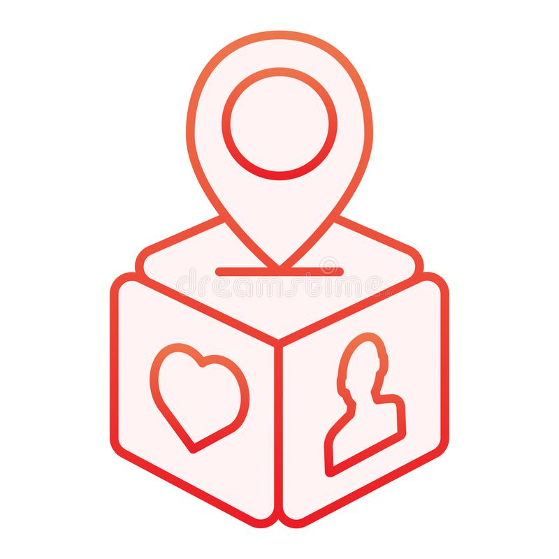 Subscriber location flat icon. Box with map pin red icons in trendy flat style. Gift location gradient style design stock illustration