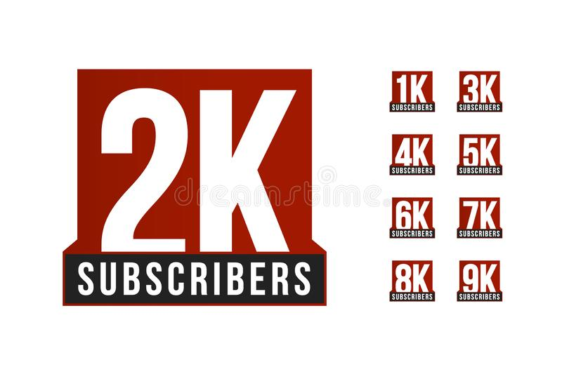 Subscribers number vector icon set. Anniversary logo template. Greeting card design element. Simple numbers of followers. Emblem. Red strict style isolated vector illustration
