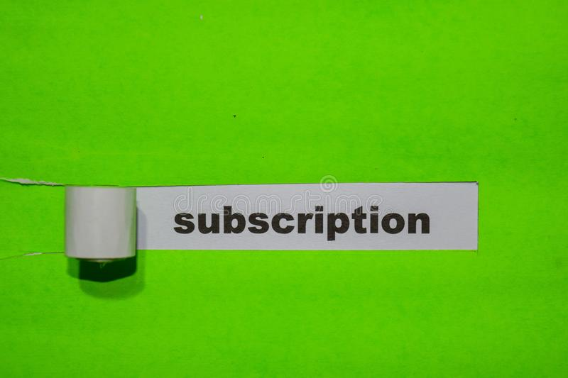 Subscription, Inspiration and business concept on green torn paper stock images