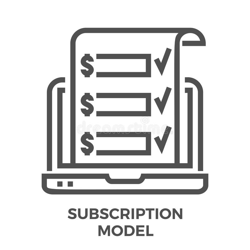 Subscription model line icon royalty free illustration
