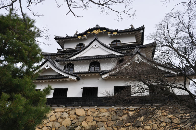 Subsistance de château de Hikone (Hikone Jo) images stock