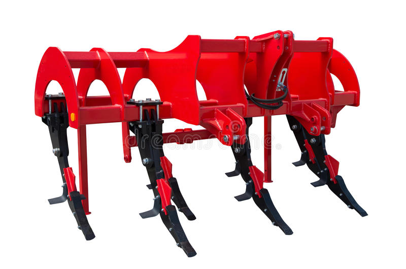 Subsoiler or flat lifter is a tractor mounted farm implement. A subsoiler is a tractor mounted farm implement used for deep tillage, loosening and breaking up stock photography