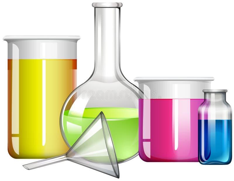 Substância líquida nos recipientes de vidro ilustração do vetor