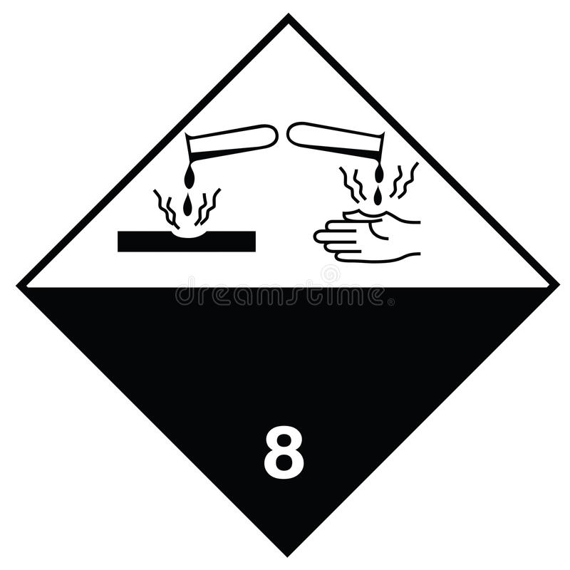 Substâncias corrosivas de sinal de perigo ilustração royalty free