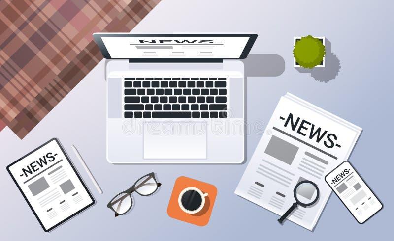 Substance de bureau de bureau de journal de comprimé de smartphone d'ordinateur portable de vue d'angle supérieur de concept de n illustration libre de droits
