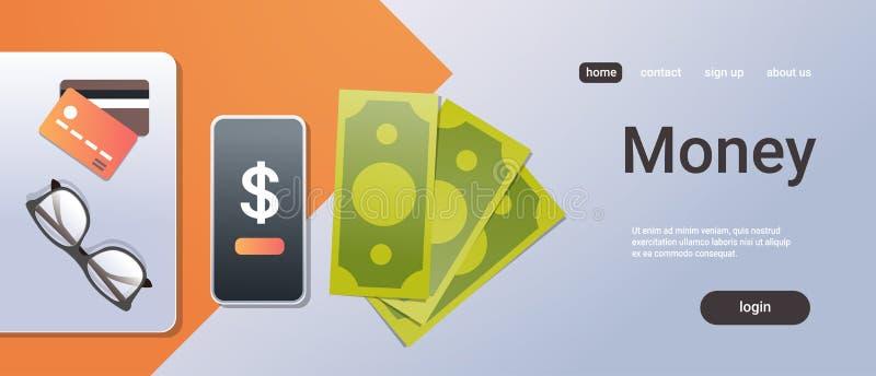 Substance de bureau mobile en ligne de bureau de billet de banque de papier de carte de crédit de smartphone de vue d'angle supér illustration de vecteur