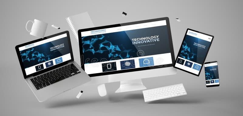 substance et dispositifs de bureau flottant avec le Web innovateur de technologie illustration libre de droits