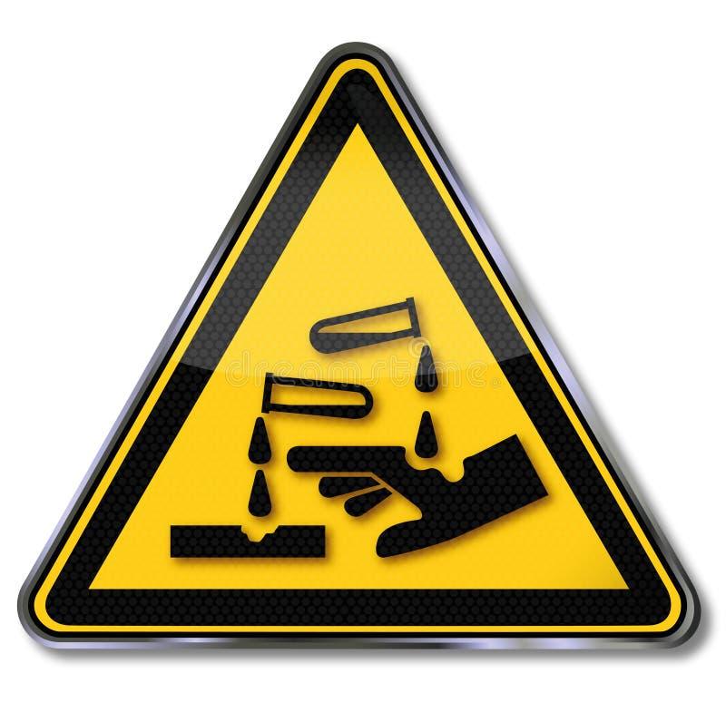Substances corrosives d'avertissement illustration libre de droits