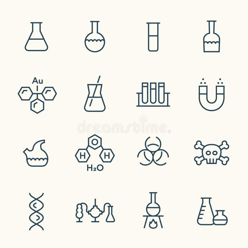 Substancj chemicznych kreskowe ikony royalty ilustracja