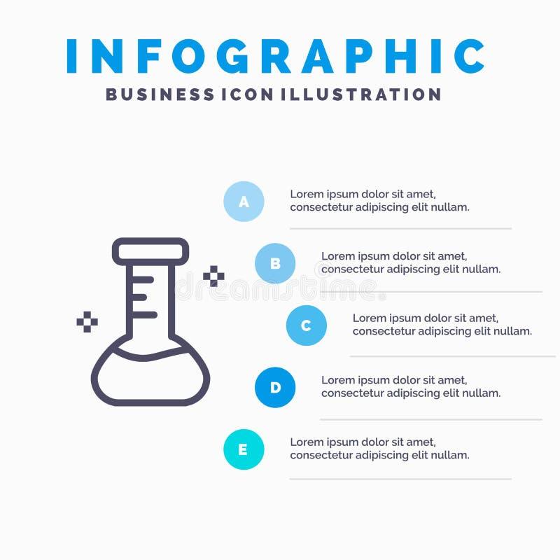 Substancja chemiczna, kolba, laboratorium Kreskowa ikona z 5 kroków prezentacji infographics tłem ilustracja wektor