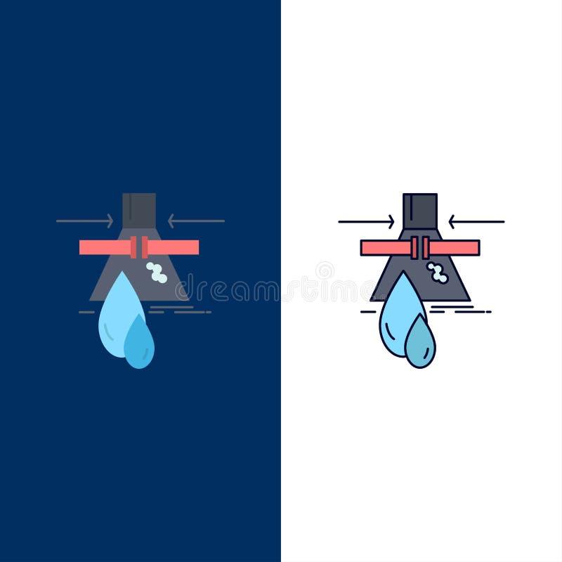 Substancja chemiczna, przeciek, wykrycie, fabryka, zanieczyszczenie koloru ikony Płaski wektor ilustracji