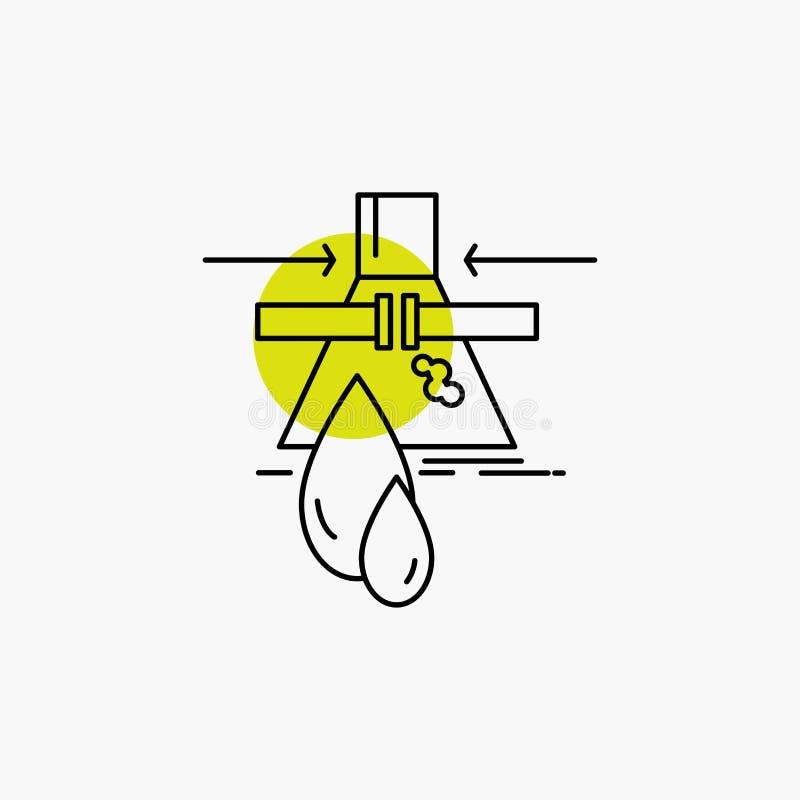 Substancja chemiczna, przeciek, wykrycie, fabryka, zanieczyszczenie Kreskowa ikona ilustracja wektor