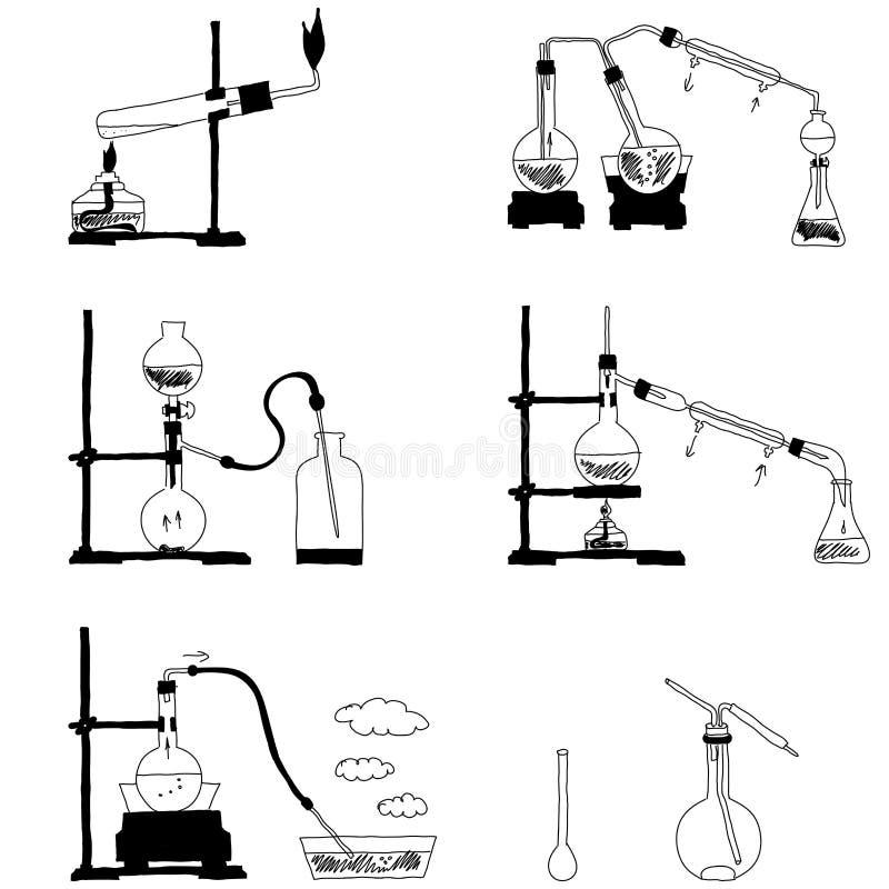 substancja chemiczna przetwarza plany ilustracji