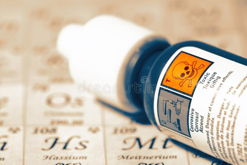 Substancja chemiczna w butelce z toksyczną ostrzegawczą etykietką na Okresowym stole obraz stock