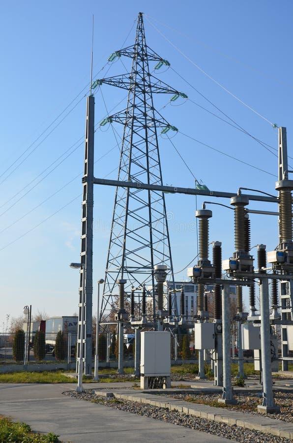 Substation 110/20kV and pole. Electric substation 110/20kV and pole royalty free stock photos