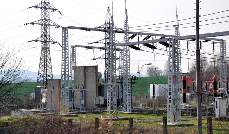 Substation transformer and high voltage royalty free stock photos