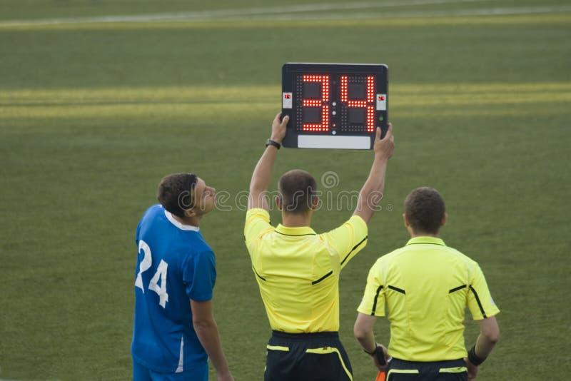 Substitutie in voetbalspel stock fotografie