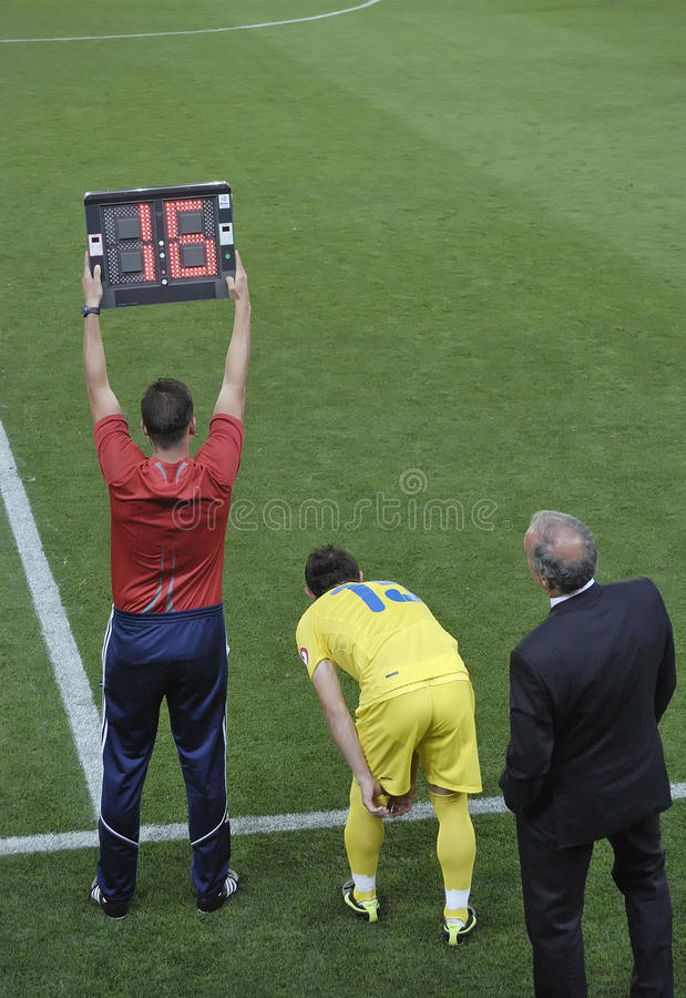 Substitution In Football Game Editorial Photography
