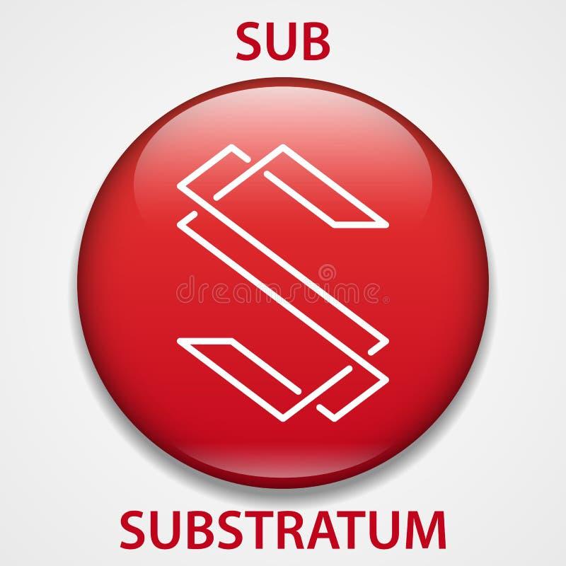 Substrat-Münze cryptocurrency blockchain Ikone Virtuelles elektronisches, Internet-Geld oder cryptocoin Symbol, Logo vektor abbildung