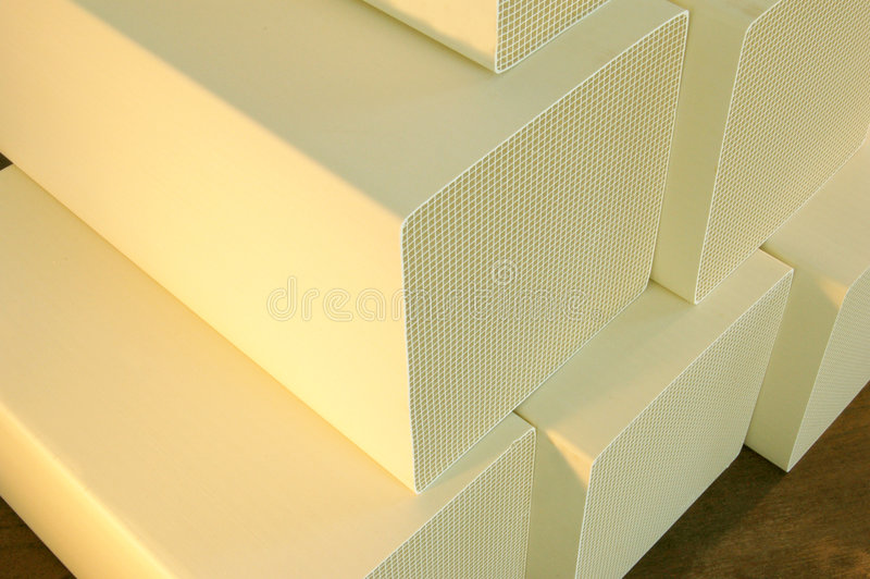 Substrate. Stack of ceramic substrate used to control industrial air pollution emissions royalty free stock photo