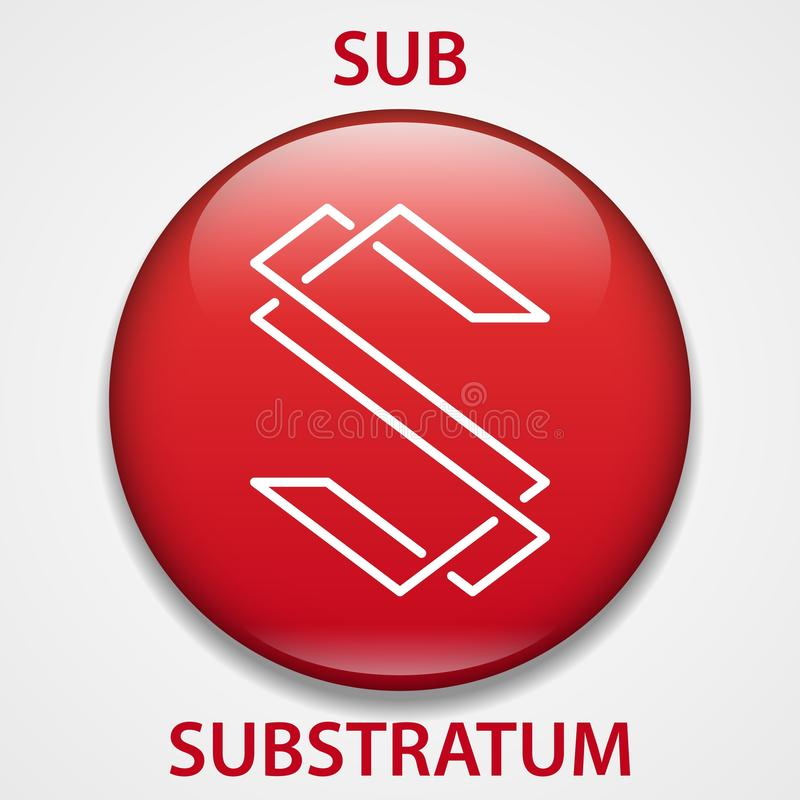Substratum Coin cryptocurrency blockchain icon. Virtual electronic, internet money or cryptocoin symbol, logo.  vector illustration