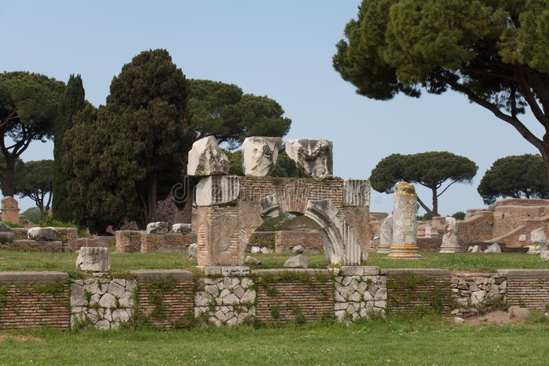 The substructure of Rome and August Temple in The Ancient Roman Port of Ostia Antica, Province of Rome, Lazio, Italy. Italy, Ostia - April 16 2017: the view of stock photo