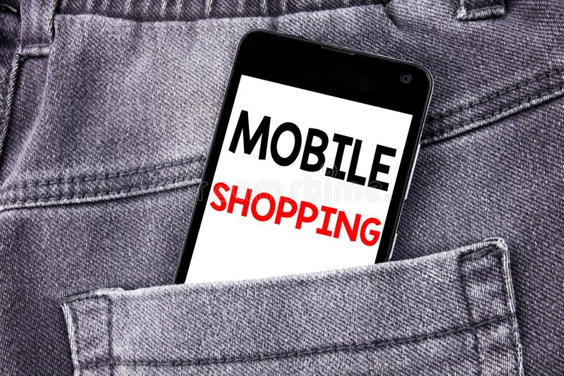 Subtítulo conceptual del texto de la escritura de la mano que muestra compras móviles Concepto del negocio para el phon móvil esc fotografía de archivo