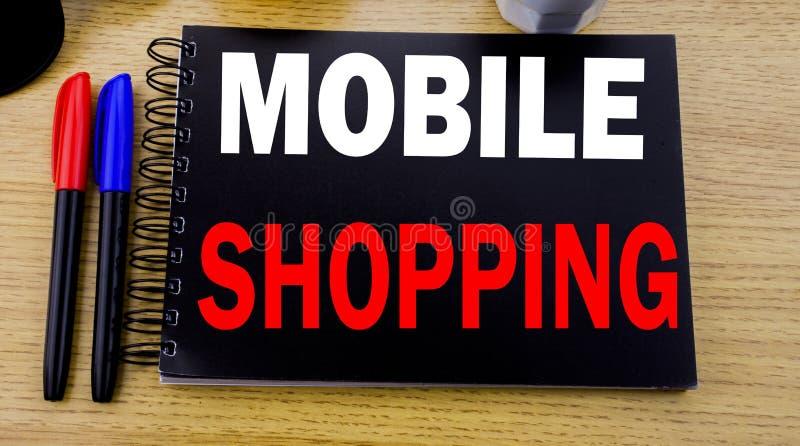Subtítulo conceptual del texto de la escritura de la mano que muestra compras móviles Concepto del negocio para la orden en línea imagen de archivo libre de regalías