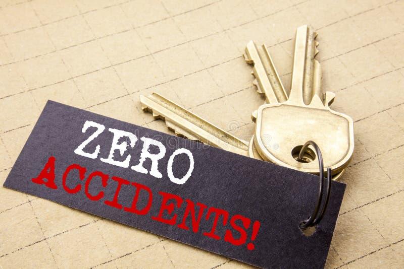 Subtítulo conceptual do texto da escrita da mão que mostra os acidentes zero Conceito do negócio para a segurança no perigo do tr foto de stock