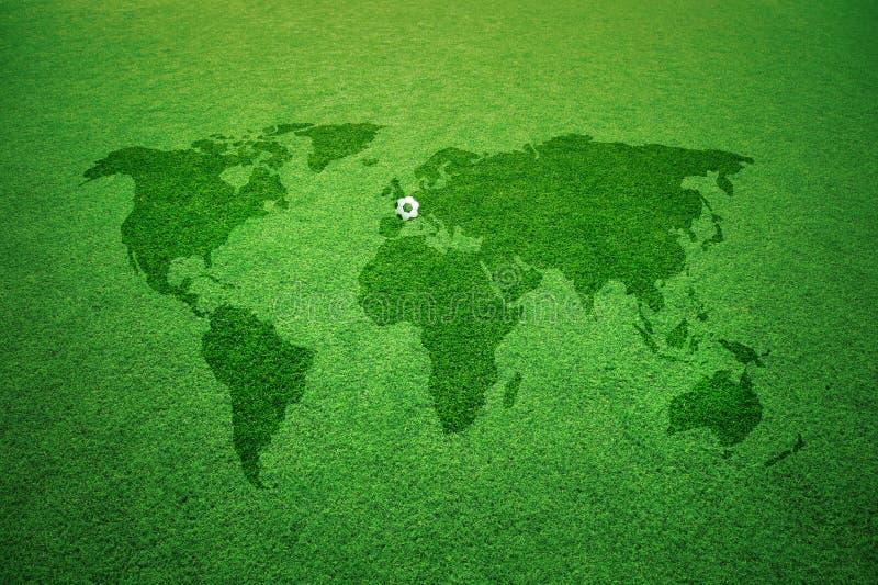 Subtítulo del fútbol de Europa del mapa del mundo imagenes de archivo