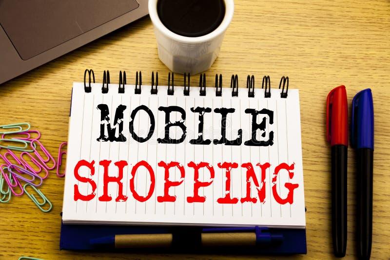 Subtítulo del texto de la escritura de la mano que muestra compras móviles Concepto del negocio para la orden en línea del teléfo imagen de archivo libre de regalías