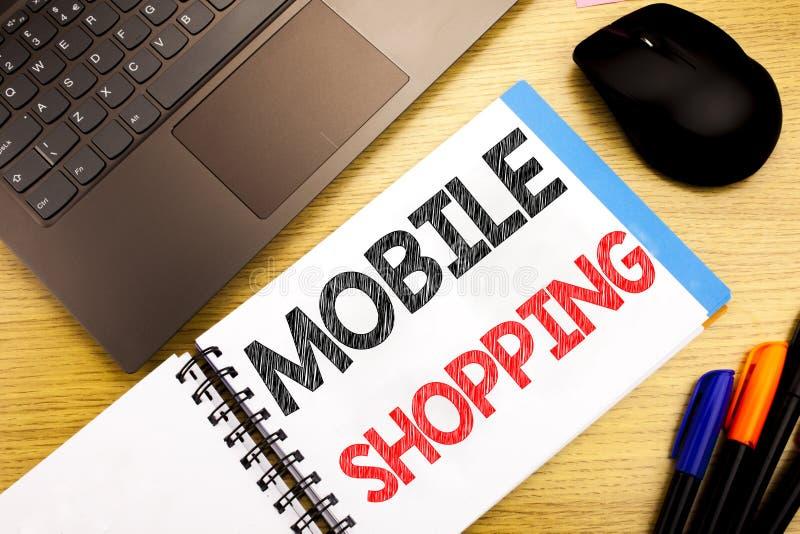 Subtítulo manuscrito del texto que muestra compras móviles Escritura del concepto del negocio para la orden en línea del teléfono imágenes de archivo libres de regalías