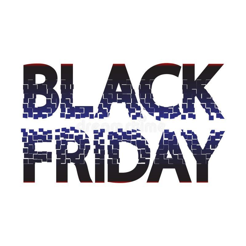 Subtítulo negro de la venta de viernes para la bandera, cartel Inscripción del ejemplo del vector, poniendo letras Título del EPS stock de ilustración