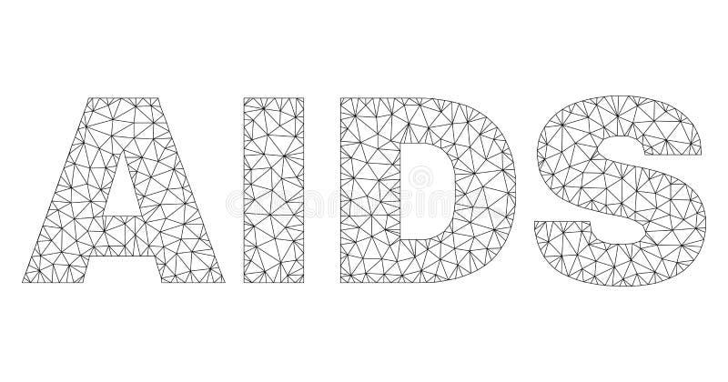 Subt?tulo poligonal do texto do SIDA do quadro do fio ilustração do vetor