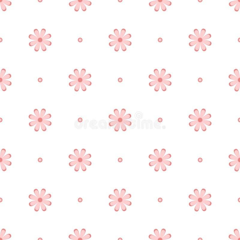 Subtelna menchia kwitnie na bielu, prosty bezszwowy wzór, wektor royalty ilustracja