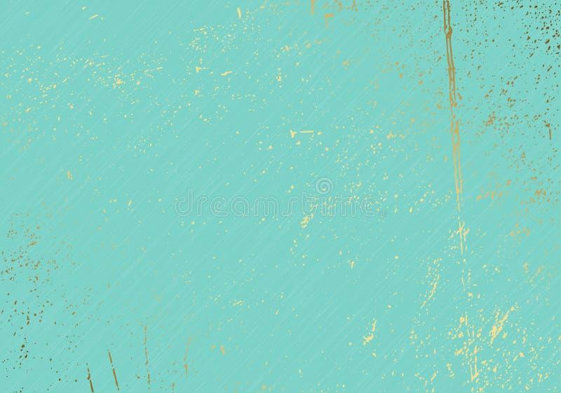 Subtelna turkusowa wektorowa tekstury narzuta Abstrakcjonistyczny złoto splattered splendoru tło Kropkowany zbożowy złoty grunge  royalty ilustracja