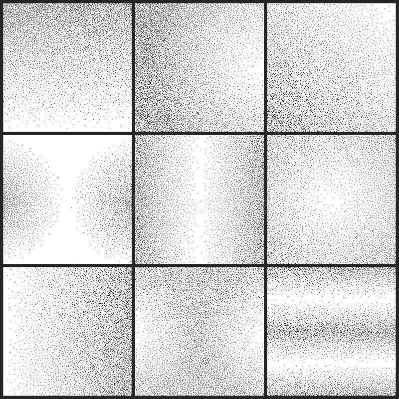 Subtelnego grunge tekstur wektoru kropkowany krupiasty set ilustracji