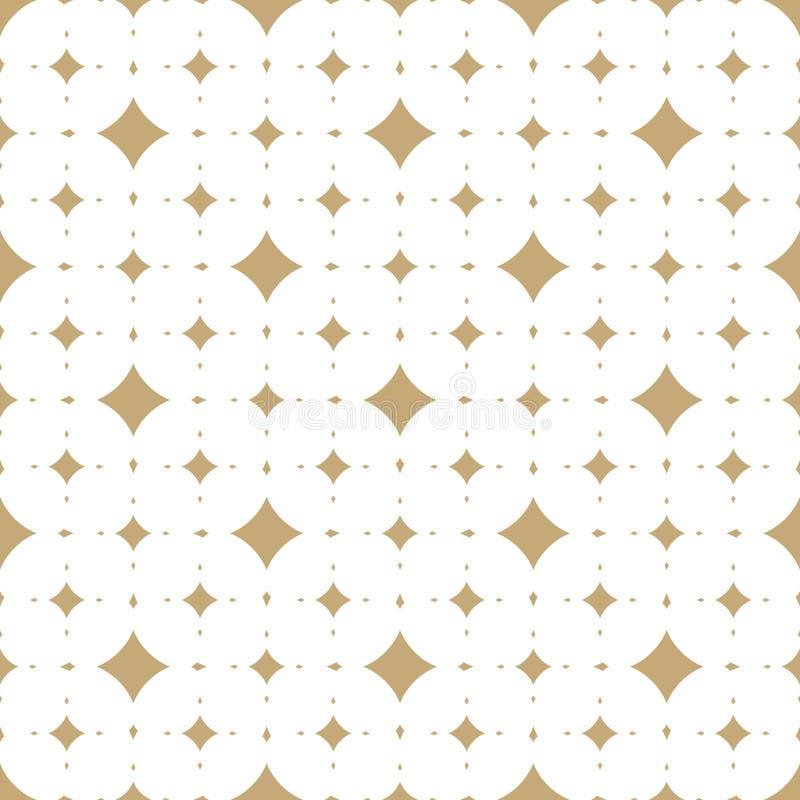 Subtelny biały i złocisty wektorowy bezszwowy wzór z diamentowymi kształtami royalty ilustracja