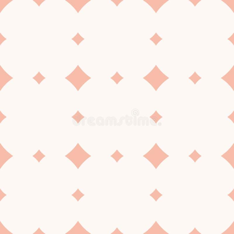 Subtelny różowy wektorowy bezszwowy wzór z diamentem kształtuje, rhombuses, kwadraty royalty ilustracja