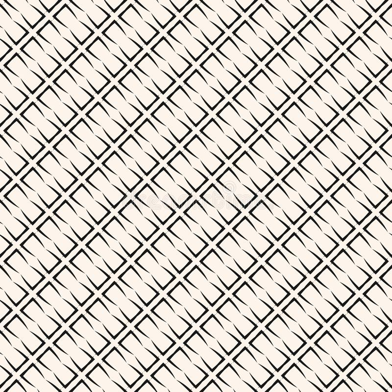 Subtelny wektorowy geometryczny bezszwowy wzór z siatką, grill, sieć, przekątna wykłada ilustracja wektor