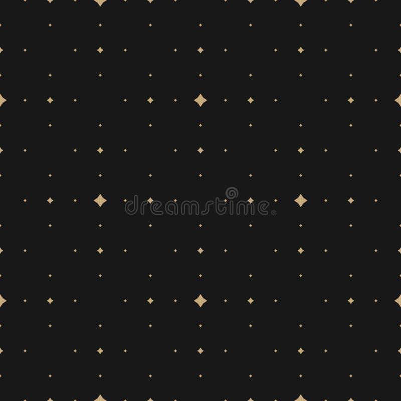 Subtelny złoto i czarny wektorowy bezszwowy wzór z małymi diamentów kształtami, gwiazdy ilustracja wektor