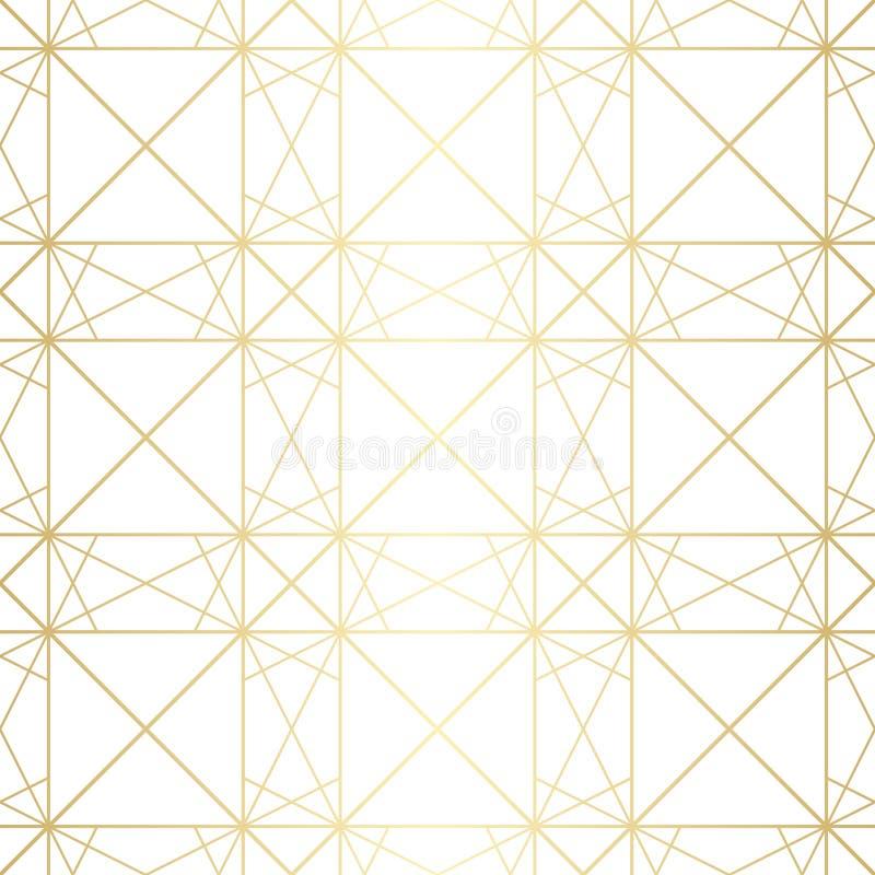 Subtelny złoty wektorowy geometryczny bezszwowy wzór z diamentową siatką, cienieje linie royalty ilustracja