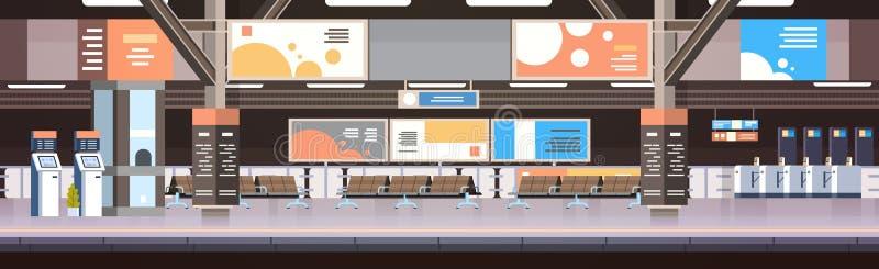 Subterráneo del tren o plataforma vacía interior del ferrocarril sin concepto del transporte y del transporte de pasajeros stock de ilustración