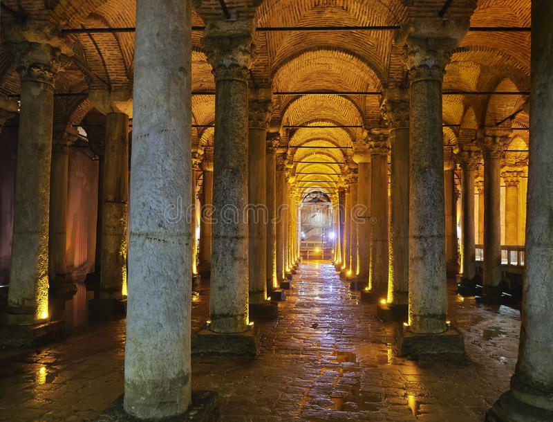 Subterranean Basilica Cistern. Istanbul, Turkey. royalty free stock images